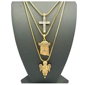 Other - Jesus Face Diamond Cross Holy Angel Necklace Gold